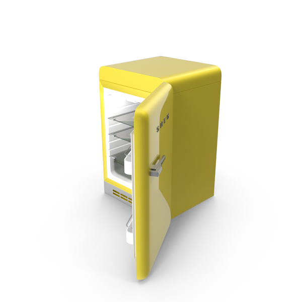 Yellow Refrigerator Open PNG & PSD Images