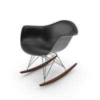 Eames Rocking Chair Leather Black PNG & PSD Images