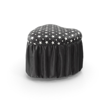Pouf Heart Black Leather White Stars PNG & PSD Images