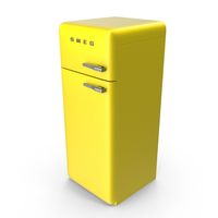 High Retro Yellow Refrigerator PNG & PSD Images