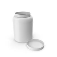 Plastic Bottle Wide Mouth 1.8 Gallon White Open Lid Laying PNG & PSD Images