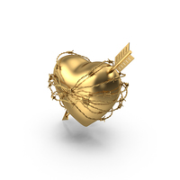 Golden Heart with Arrow In Barbed Wire PNG & PSD Images