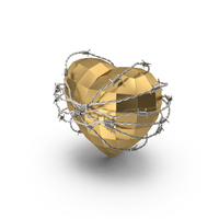 Low Poly Golden Heart In Barbed Wire PNG & PSD Images