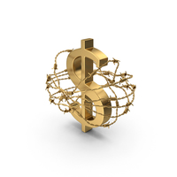 Golden Dollar In Barbed Wire PNG & PSD Images