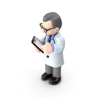 Cartoon Doctor Looking at Pad PNG & PSD Images
