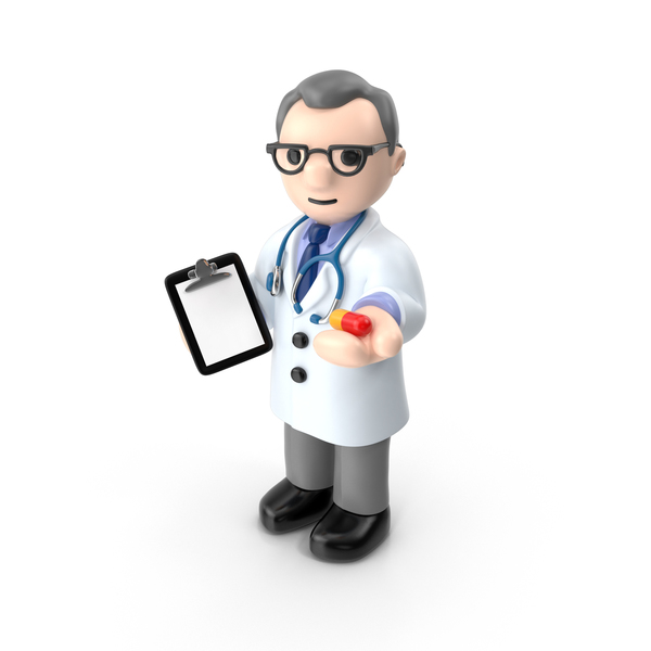Cartoon Doctor with Capsule PNG & PSD Images