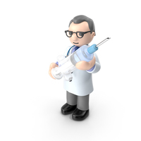 Cartoon Doctor with Syringe PNG & PSD Images