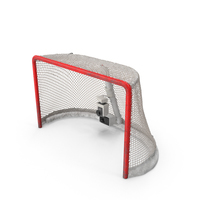 Ice Hockey Goal With Puck Ripping Net PNG & PSD Images