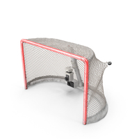 Ice Hockey Goal With Puck Ripping Net Bottom PNG & PSD Images