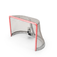 Ice Hockey Goal With Puck Stretching Net Top PNG & PSD Images