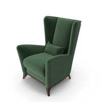 Green Bergamo High Wing Chair PNG & PSD Images
