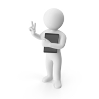 Stickman Holding Tablet PNG & PSD Images