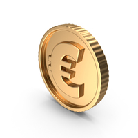 Golden Euro Coin Symbol PNG & PSD Images