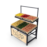 Wooden Display Rack With Fruits and Vegetables PNG & PSD Images