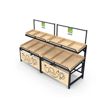 Wooden Fruit and Veggies Display Rack With Tag PNG & PSD Images