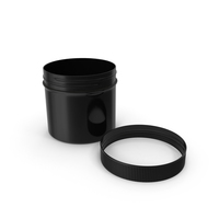 Black Plastic Jar Wide Mouth Straight Sided 4oz Cap Laying PNG & PSD Images