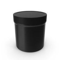 Plastic Jar Wide Mouth Straight Sided 6oz Closed Black PNG & PSD Images