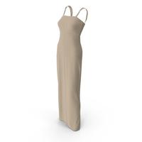 Sleeveless Long Beige Dress PNG & PSD Images