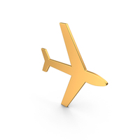 Airplane Symbol Gold PNG & PSD Images