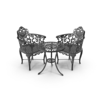 Outdoor Iron Garden Table & Armchair Set PNG & PSD Images