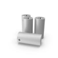 White Alkaline D Battery Set PNG & PSD Images