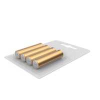 4 Pack Metal Battery AA Gold PNG & PSD Images