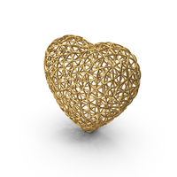 Gold Wire Heart PNG & PSD Images
