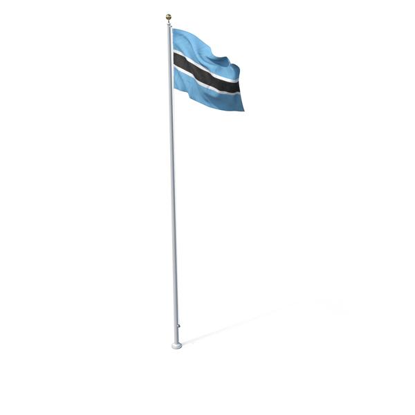 Flag On Pole Botswana PNG & PSD Images