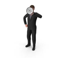 Businessman John Holding Loud Speaker PNG & PSD Images