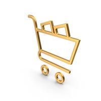 Shopping Cart Symbol Gold PNG & PSD Images
