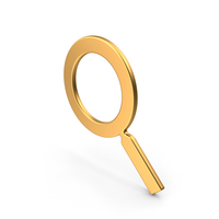 Magnifier Symbol Gold PNG & PSD Images