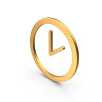 Clock Symbol Gold PNG & PSD Images