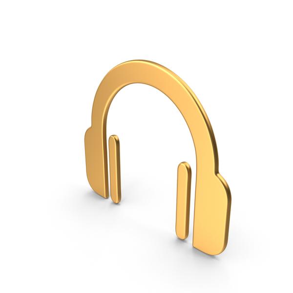 Headphones Symbol Gold PNG & PSD Images