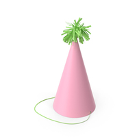 Party Pink Hat with Green Pom Pom PNG & PSD Images