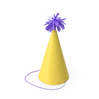 Party Yellow Hat with Red Pom Pom PNG & PSD Images