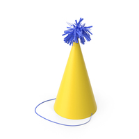 Party Yellow Hat with Blue Pom Pom PNG & PSD Images