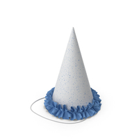 Party Hat with Blue frill PNG & PSD Images