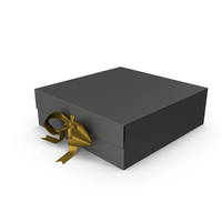 Black Box with Gold Ribbon PNG & PSD Images