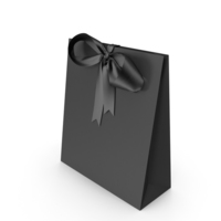 Black Packaging Paper with Black Ribbon Bow PNG & PSD Images