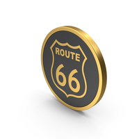 Gold Icon Route 66 PNG & PSD Images