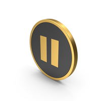 Pause Button Golden Icon PNG & PSD Images