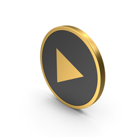 Play Button Gold Icon PNG & PSD Images