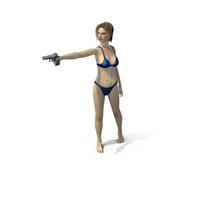 Swimsuit Girl Aiming Gun PNG & PSD Images