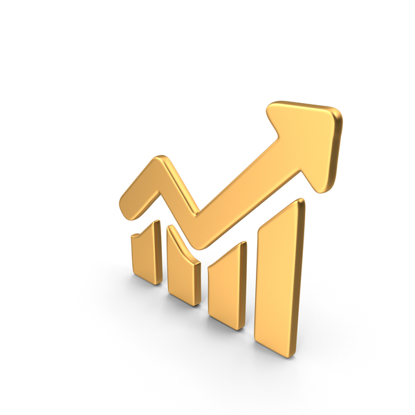 Gold Growing Graph Symbol PNG & PSD Images