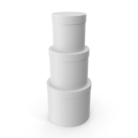 White Three Round Cardboard Boxes PNG & PSD Images