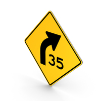 Curve with Speed Advisory PNG & PSD Images