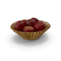 Wicker Basket with Red Apples PNG & PSD Images