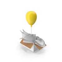 Yellow Balloon Gift Box PNG & PSD Images