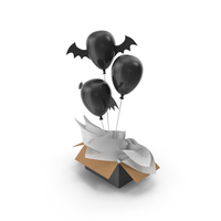 Halloween Balloons Gift Box PNG & PSD Images