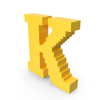 Stylized Cartoon Voxel Pixel Art Letter K PNG & PSD Images
